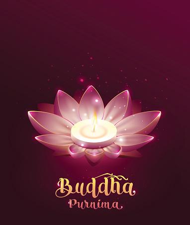 Buddha Purnima Vesak day lettring text greeting card. Lotus flower and burning candle
