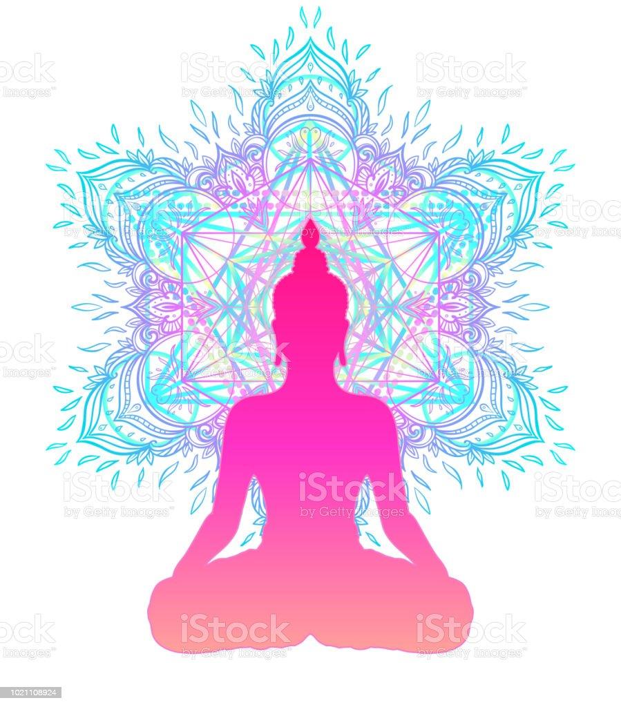 Silhouette Des Buddha Im Lotussitz Uber Bunt Verzierten Mandala
