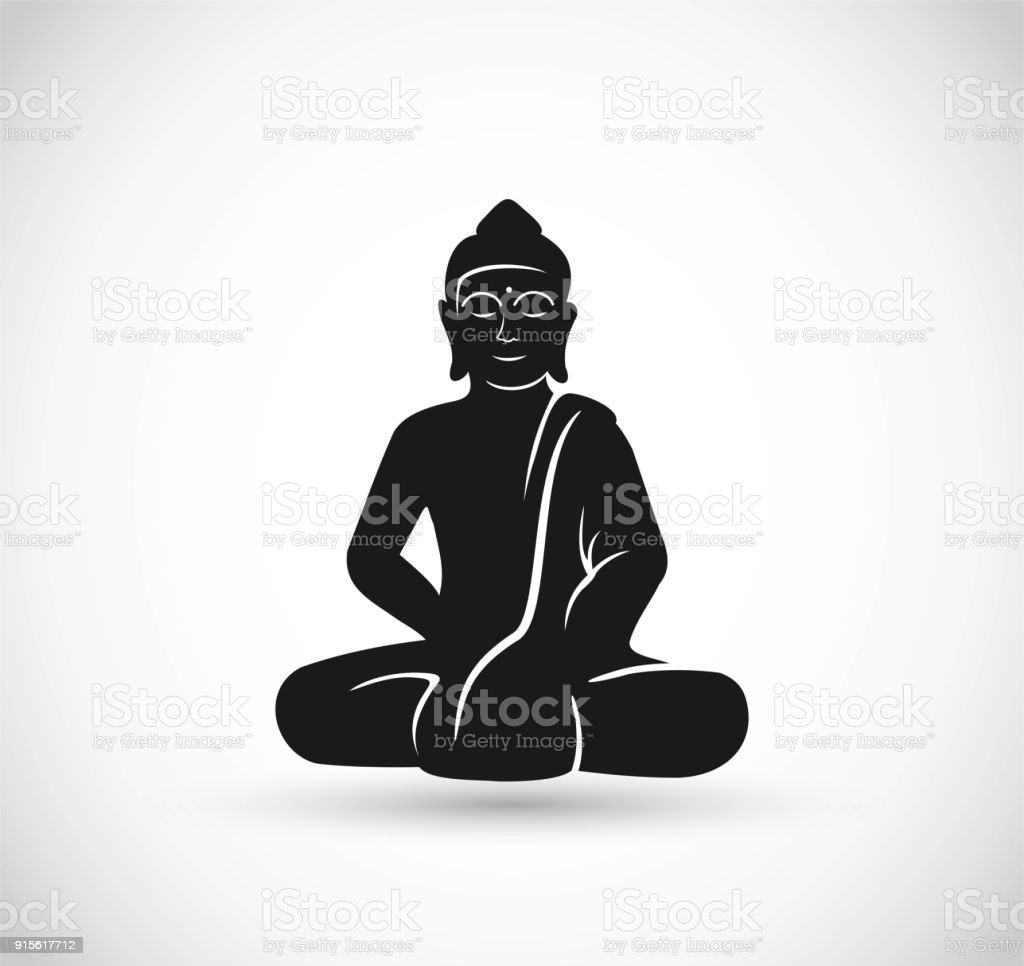 Buddha sitting icon vector vector art illustration