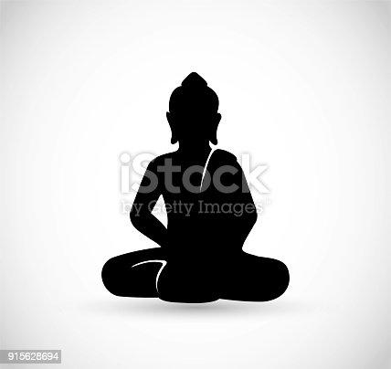 istock Buddha sitting icon vector 915628694