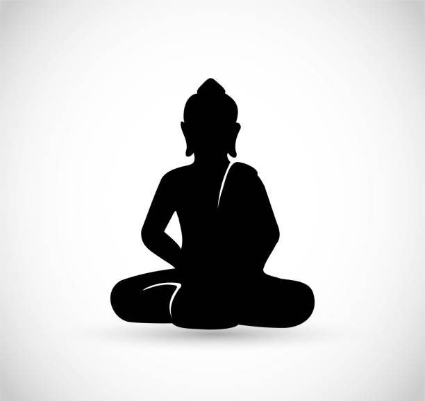 stockillustraties, clipart, cartoons en iconen met boeddha zittend pictogram vector - buddha