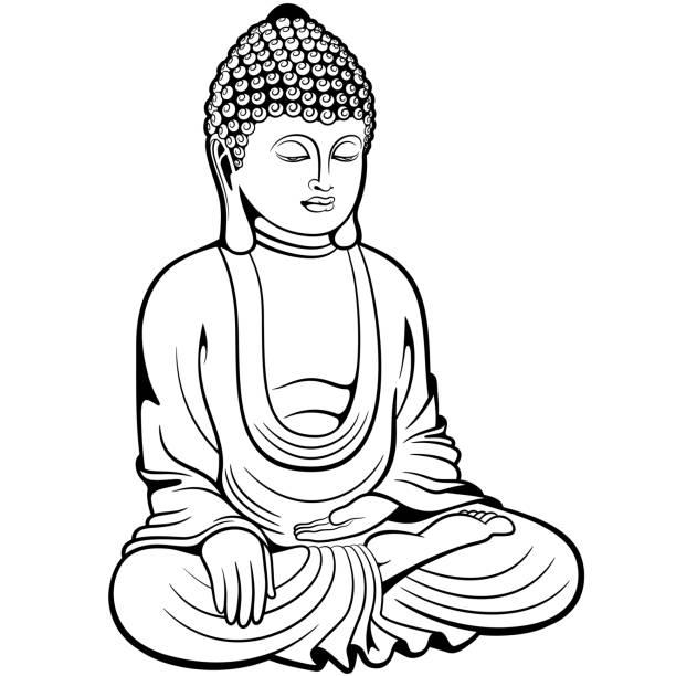 stockillustraties, clipart, cartoons en iconen met boeddha zittend in lotus pose, digitale inkt tekenen - boeddha