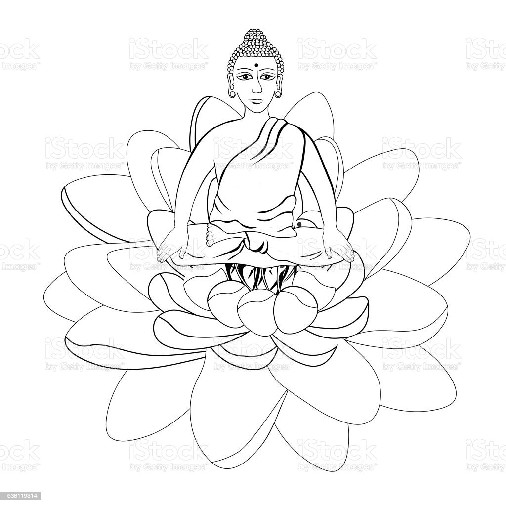 Buddha Sitting In The Lotus Indian Meditation Open Eyes Coloring