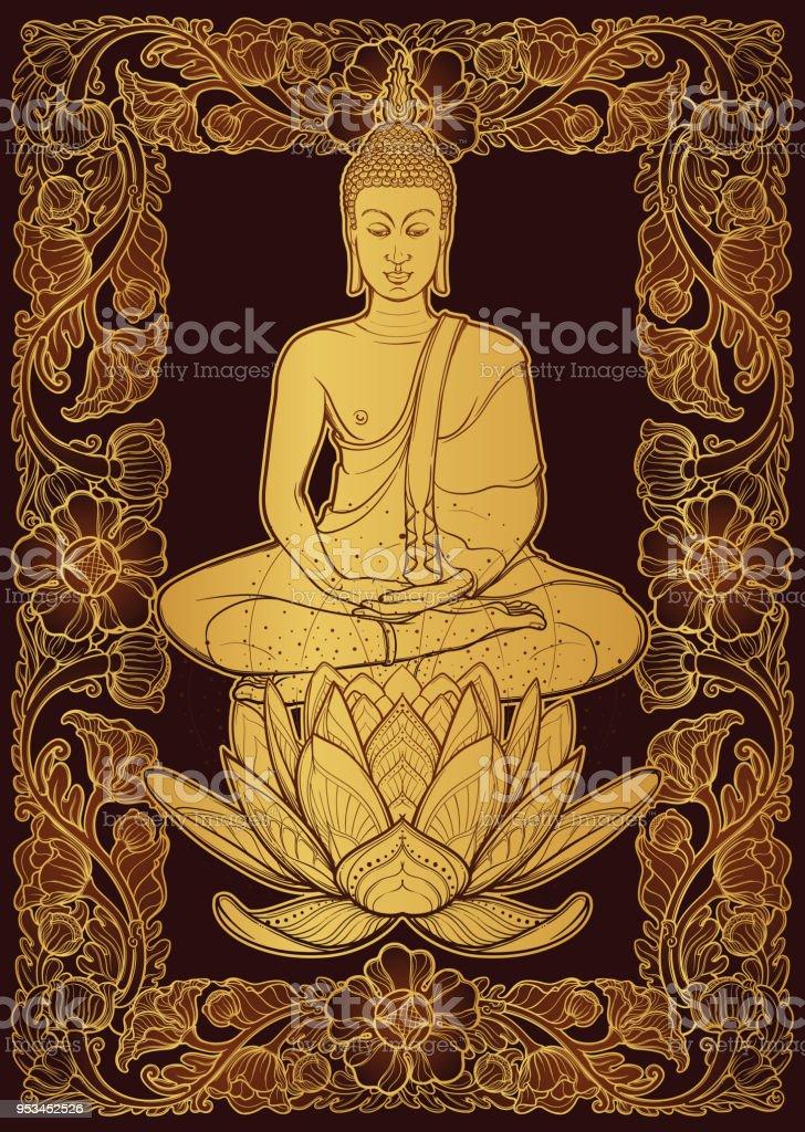 Buddha sitting on a lotus flower and meditating in the single lotus buddha sitting on a lotus flower and meditating in the single lotus position decorative rectangular mightylinksfo