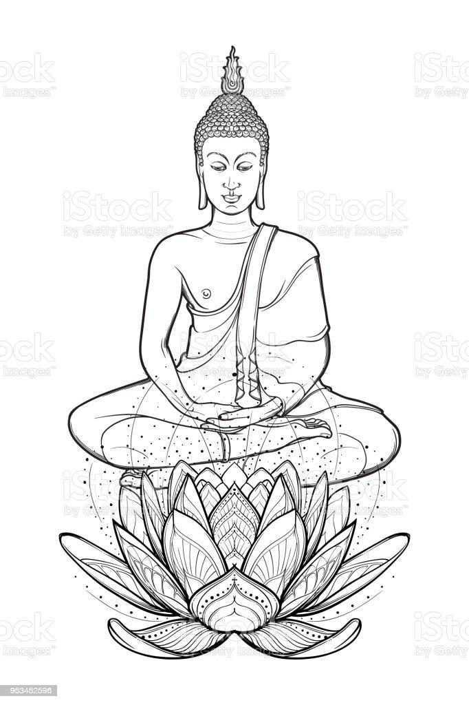 Bouddha Assis Sur Une Fleur De Lotus Et De Mediter Dans La