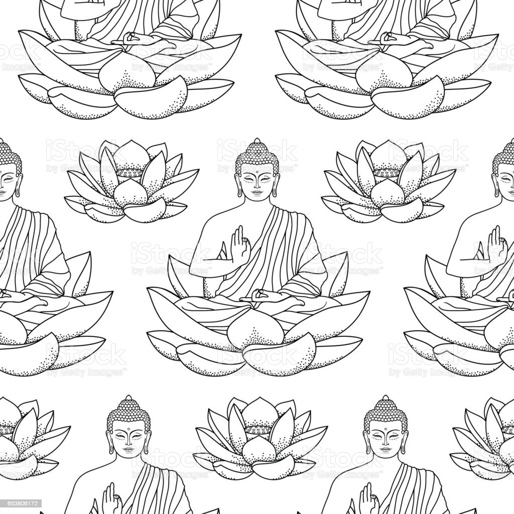 Buddha Sitting On Lotus Seamless Pattern Stock Vector Art More