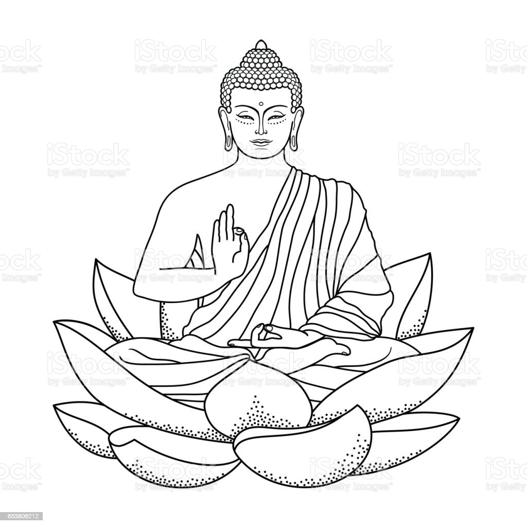Buddha sitting on Lotus vector art illustration