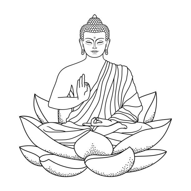 buddha sitting on lotus - buddha stock illustrations, clip art, cartoons, & icons
