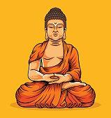Buddha sitting. Statue of Buddha