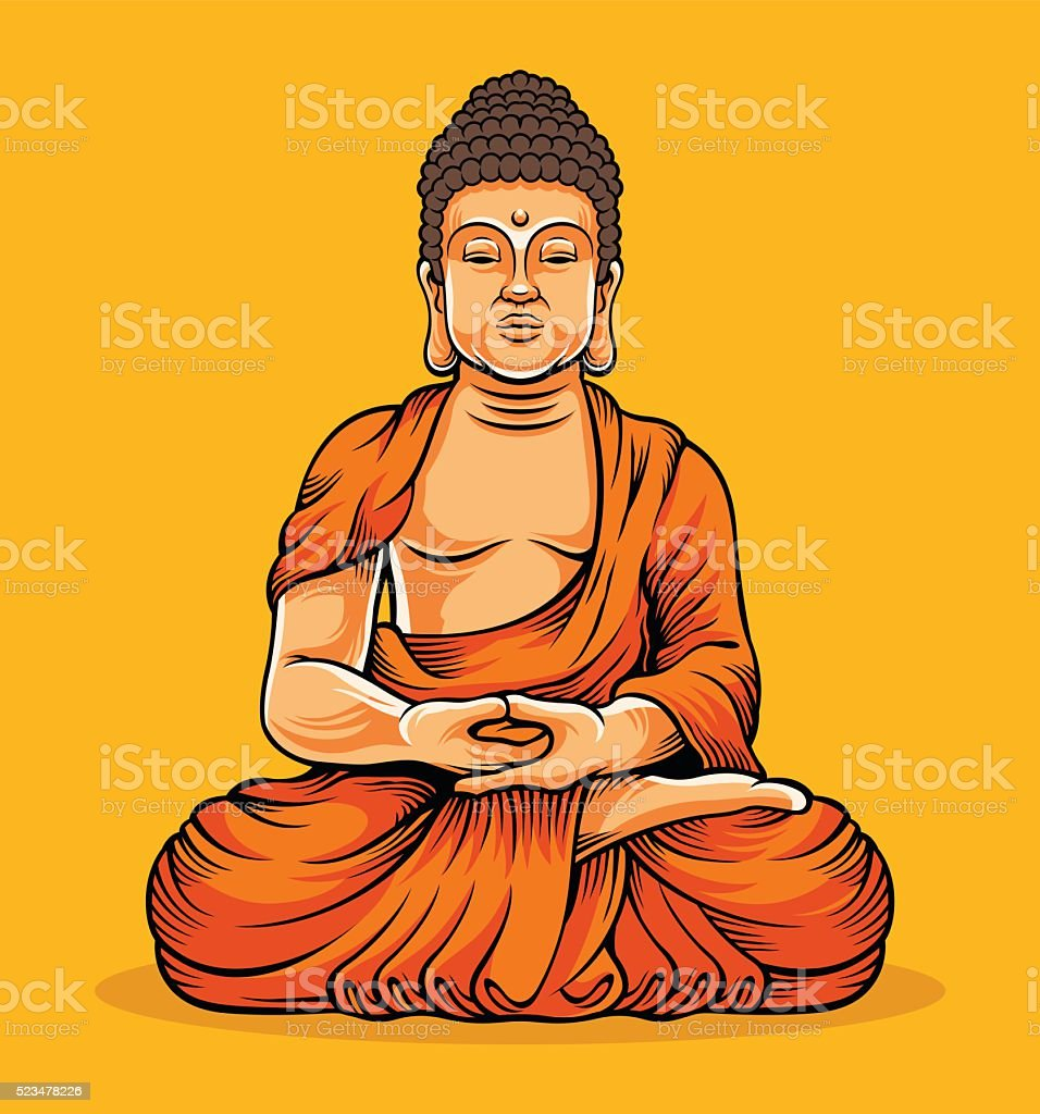 Buddha sitting. Statue of Buddha vector art illustration