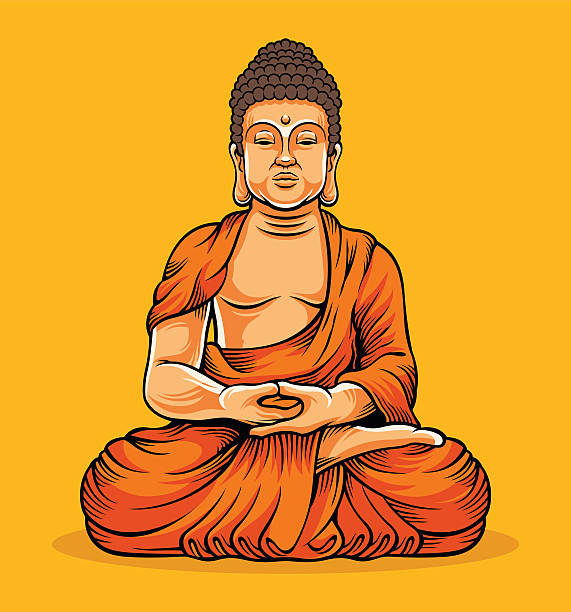 Buddha sitting. Statue of Buddha vector art illustration