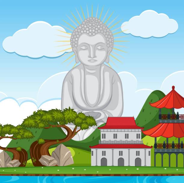 buddha-statue im tempel - gartenskulpturkunst stock-grafiken, -clipart, -cartoons und -symbole