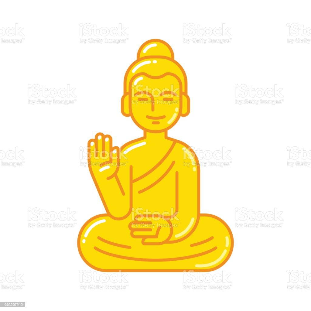Buddha statue icon vector art illustration