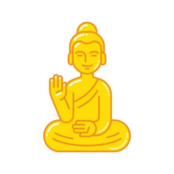 stockillustraties, clipart, cartoons en iconen met het standbeeldpictogram van boedha - buddha