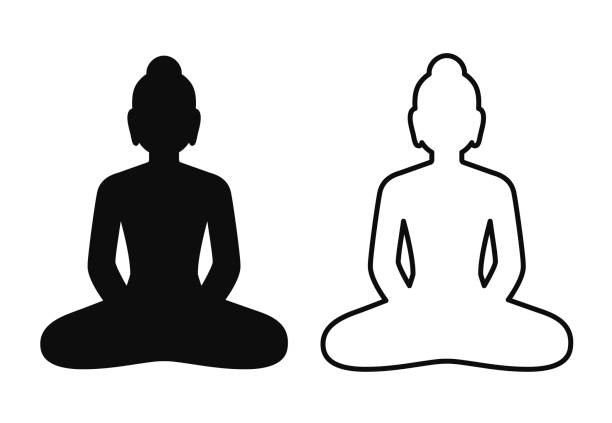 Buddha statue silhouette icon Simple and minimal icon of Buddha statue sitting in lotus pose. Black and white silhouette and line art drawing, isolated vector symbol. Mindfulness and meditation clip art illustration. buddha stock illustrations
