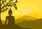 buddha statue under the Bodhi (Sacred Fig) tree and mountain on sunset background,sunset, silhouette style