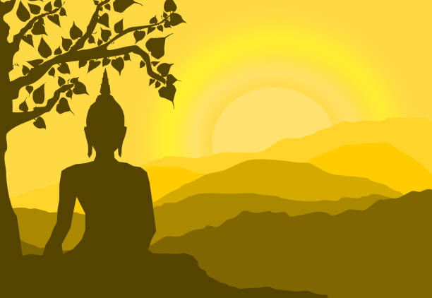 buddha statue under the Bodhi (Sacred Fig) tree and mountain on sunset background,sunset, silhouette style vector art illustration