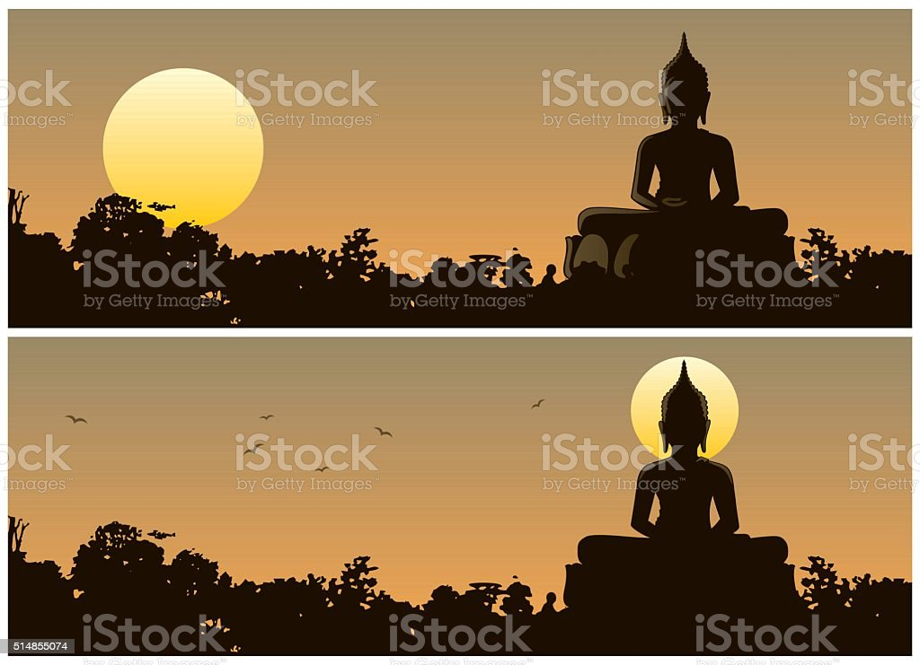 Buddha Sunset vector art illustration
