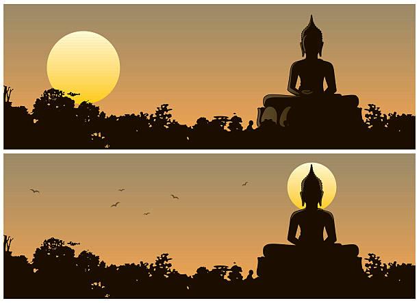 buddha sunset - buddha stock illustrations, clip art, cartoons, & icons