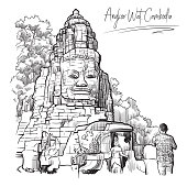 Buddha Temple in Angkor Wat, Cambodia. Engraving style sketch. Vintage design. Travel sketchbook drawing. EPS10 vector