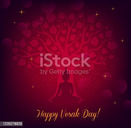 Buddha and bodhi tree, Vesak Day vector greeting card. Buddhism religion and Thai buddhist monk statue of meditating Buddha under holy bodhi tree with golden leaves and sparkles