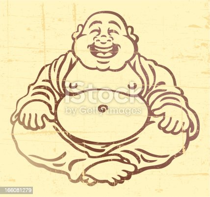 This laughing buddha is on a distressed background. Please check out my other images :)