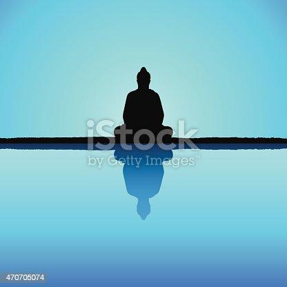 Buddha silhouette.