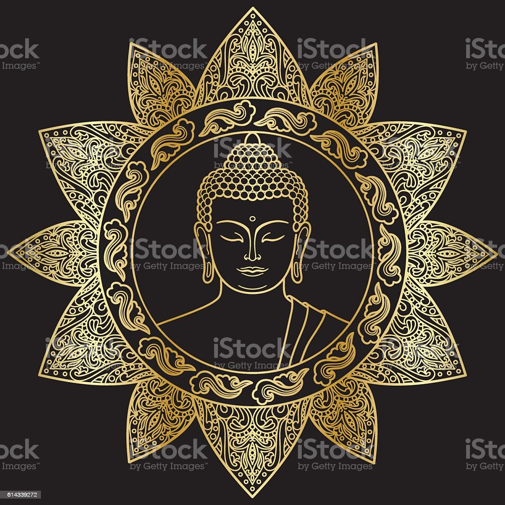 Buddha with Floral Decor vector art illustration