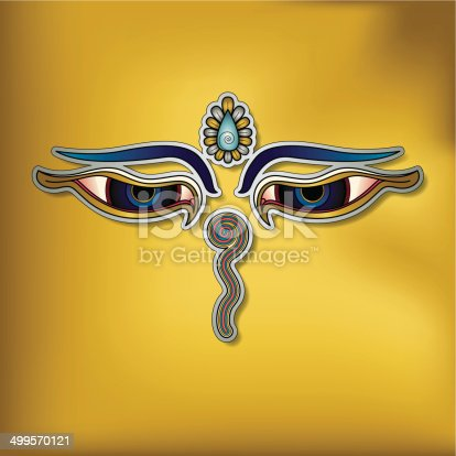 istock Buddha's eyes on yellow background – (Buddhist Symbol) 499570121