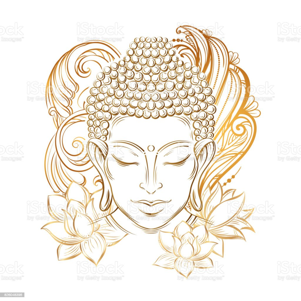 Buddha's head tattoo vector art illustration