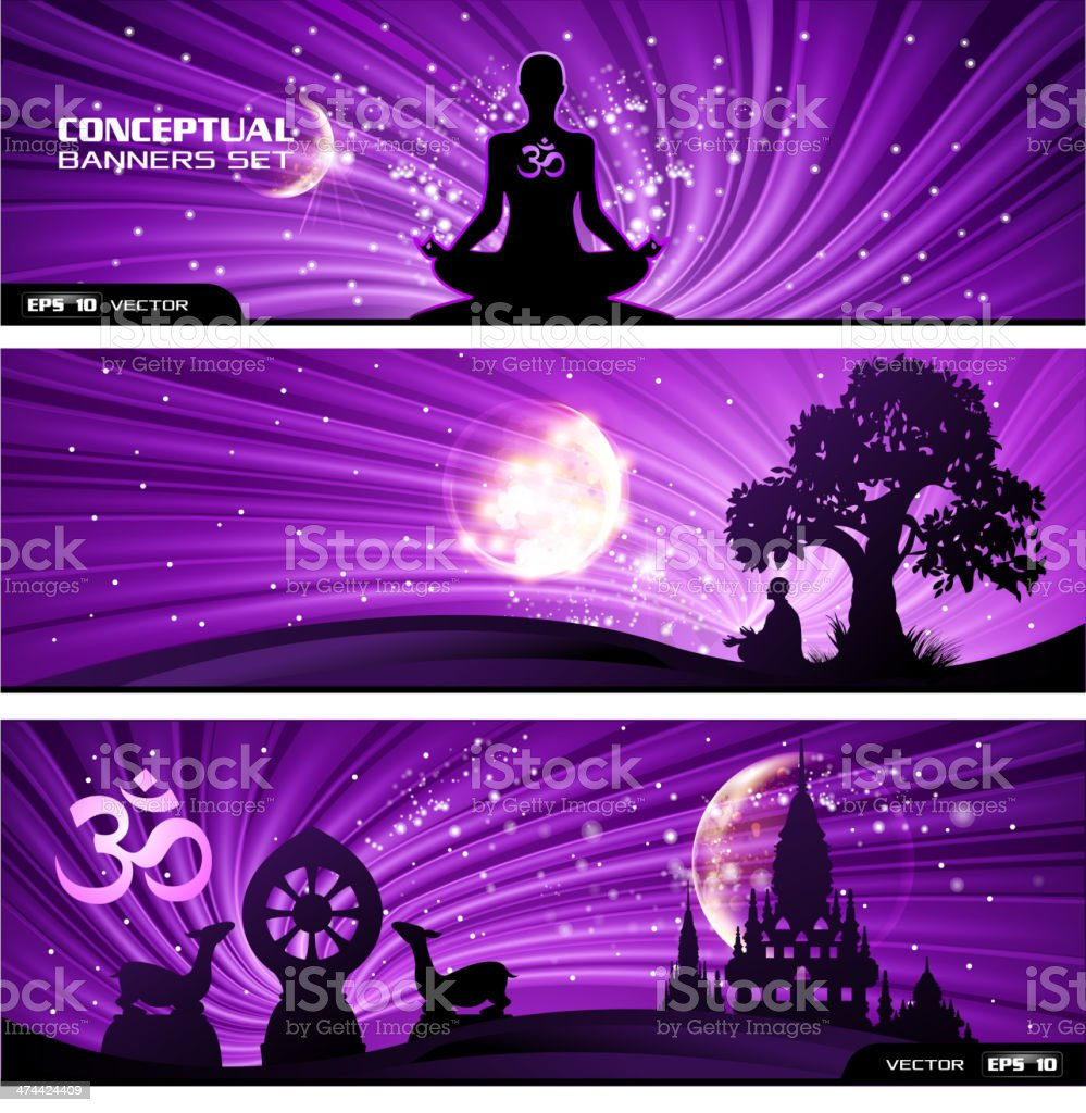 Buddhism banner set vector art illustration