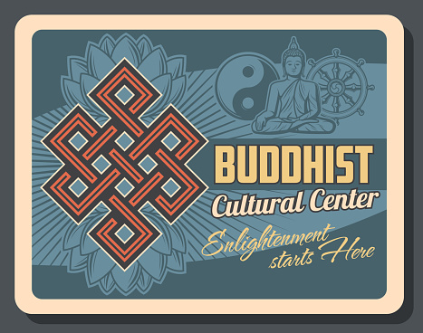Buddhism religion yin yang symbol, Buddha statue and Dharma wheel, sacred lotus flower and endless knot vector design. Buddhist religious and cultural center retro poster