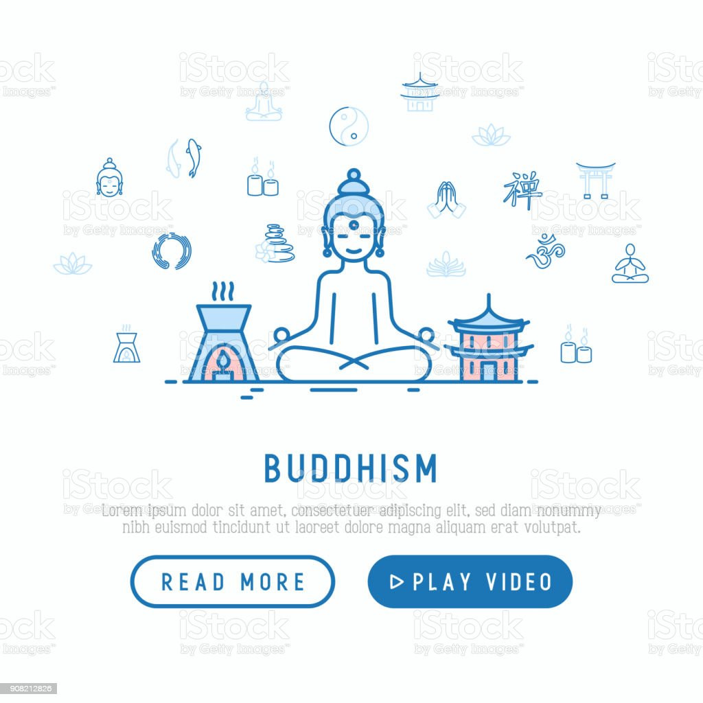 Buddhism Concept With Thin Line Icons Yoga Meditation Buddha Yinyang