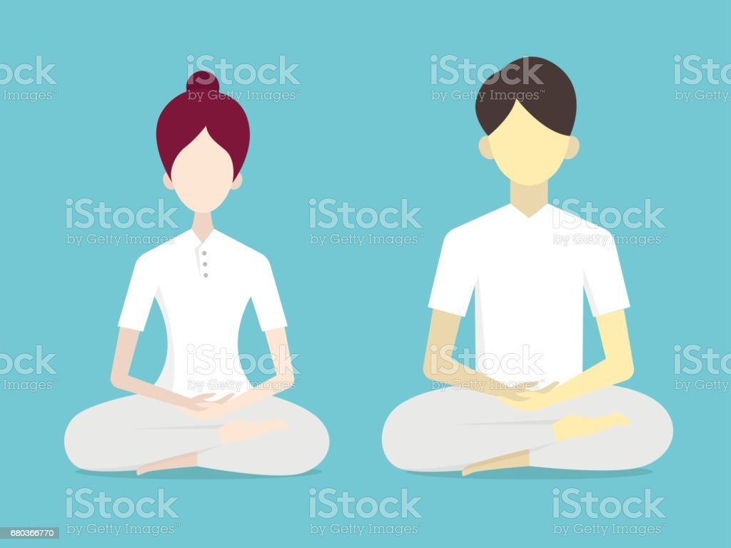 Buddhismus-Meditation-Charakter – Vektorgrafik