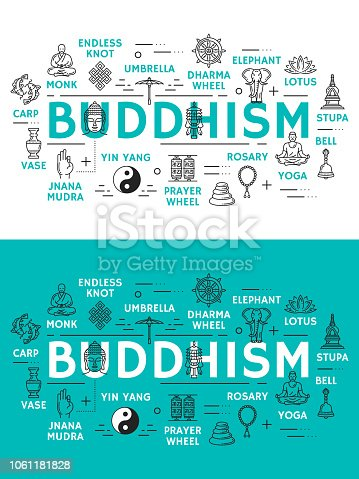 Buddhism religion icons. Monk and endless knot, dharma wheel and elephant, lotus and stupa, bell and yoga, rosary and prayer wheel, yin yang and jnana mudra, vase and carps. Vector outline icons