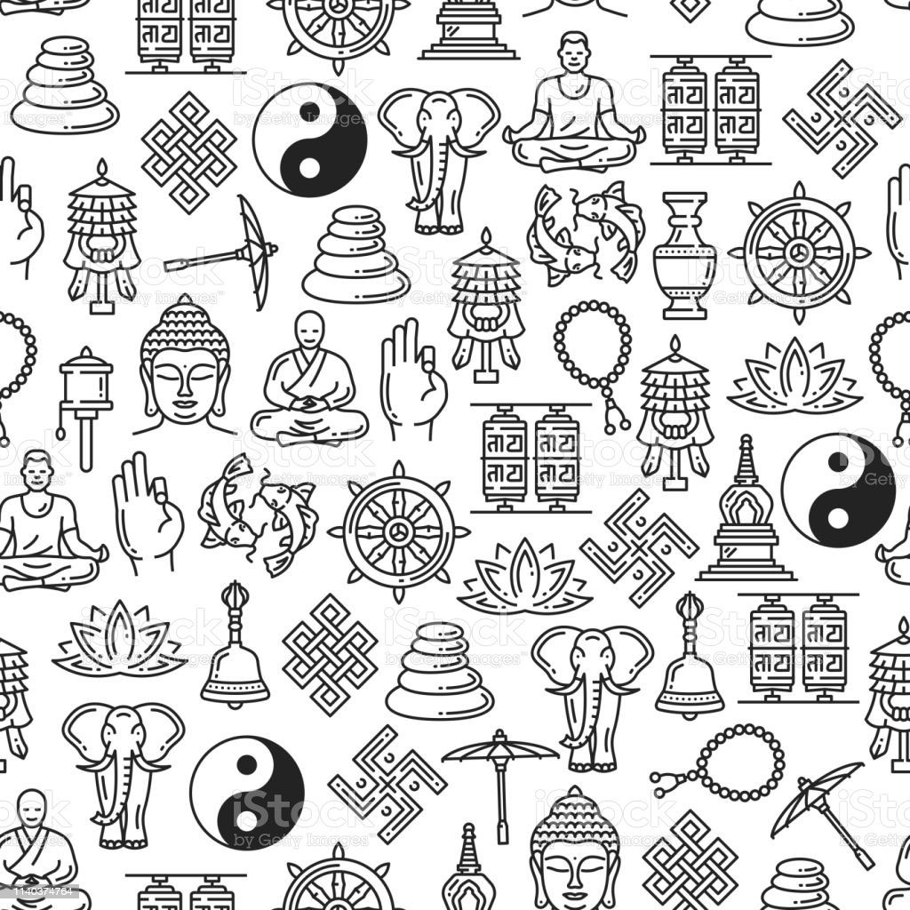 Buddhism seamless pattern of Zen meditation and religious line...