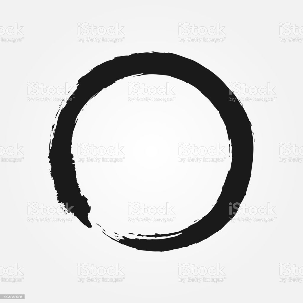 Símbolo do budismo desenhado com um pincel. Sinal ronda Zen. - ilustração de arte em vetor