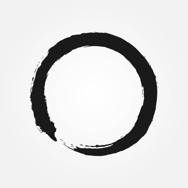 Buddhism symbol drawn with a brush. Round sign Zen. Buddhism symbol drawn with a brush. Round sign Zen. Isolated black circle. Grunge. meditation stock illustrations