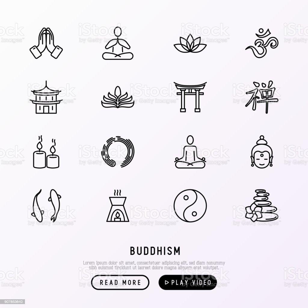Conjunto de ícones de linha fina de budismo: yoga, meditação, Buddha, Yin-Yang, velas, aromaterapia letterm de Aum, pagode, templo. Ilustração em vetor moderno. - ilustração de arte em vetor