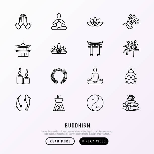 buddhismus dünne linie symbole satz: yoga, meditation, buddha, yin-yang, kerzen, aum letterm aromatherapie, pagoden, tempel. moderne vektor-illustration. - meditation icon stock-grafiken, -clipart, -cartoons und -symbole