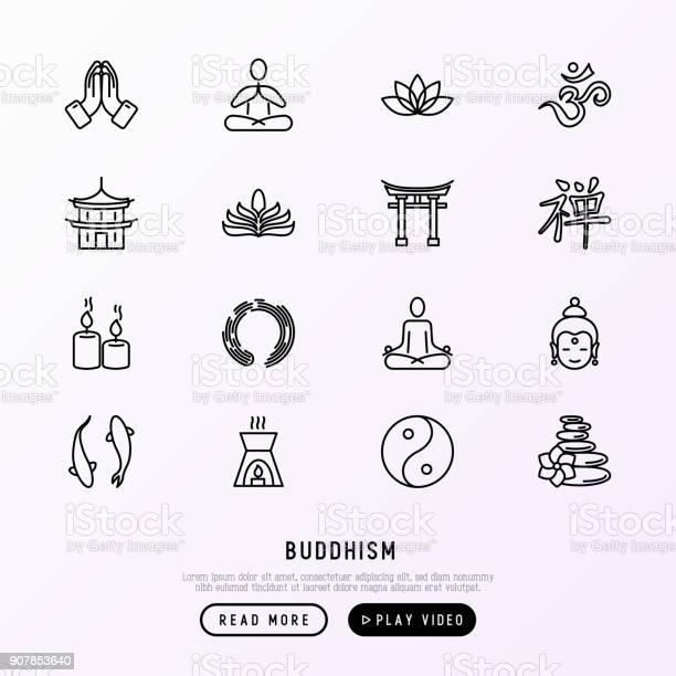 Boeddhisme Dunne Lijn Iconen Set Yoga Meditatie Boeddha Yinyang Kaarsen Aum Letterm Aromatherapie Pagode Tempel Moderne Vectorillustratie Stockvectorkunst en meer beelden van Balans