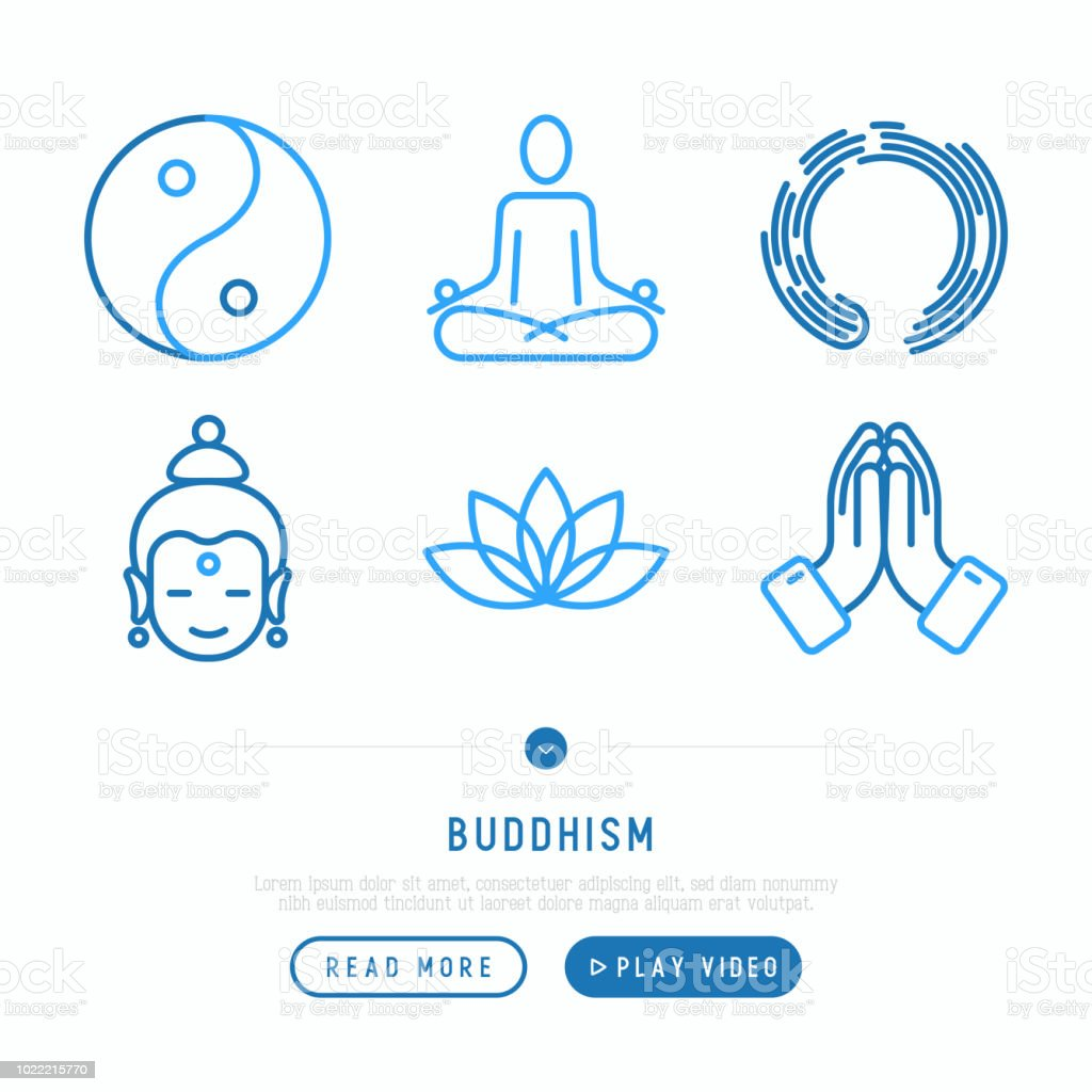 Boeddhisme dunne lijn iconen set: yoga, meditatie, Boeddha, Yin-Yang. Moderne vectorillustratie. - Royalty-free Balans vectorkunst