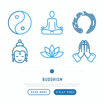 Buddhism thin line icons set: yoga, meditation, Buddha, Yin-Yang. Modern vector illustration.