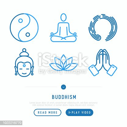 Buddhism thin line icons set: yoga, meditation, Buddha, Yin-Yang. Modern vector illustration.