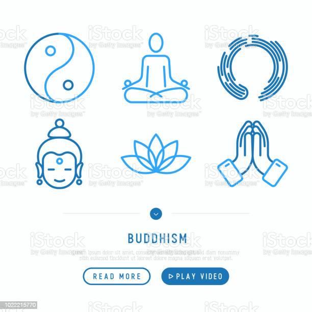 Boeddhisme Dunne Lijn Iconen Set Yoga Meditatie Boeddha Yinyang Moderne Vectorillustratie Stockvectorkunst en meer beelden van Balans