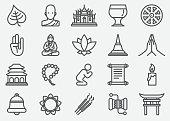 Buddhism Yoga Line Icons