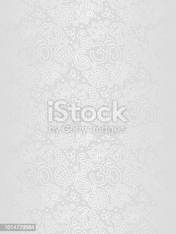 White texture background - grey and silver foil colors, metallic vintage floral vertical backdrop, om and paisley pattern - non seamless