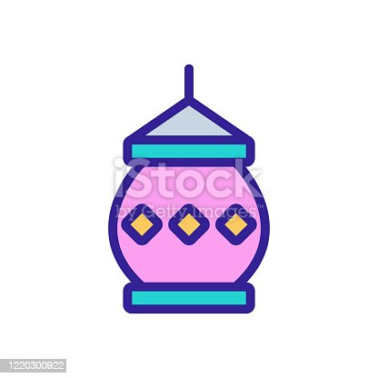 buddhist candle lantern icon vector. buddhist candle lantern sign. color symbol illustration