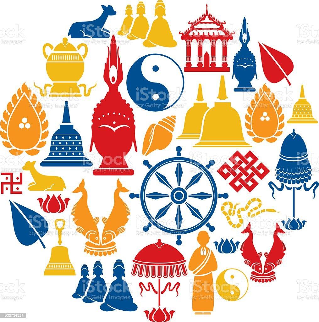 Buddhist Icon Set vector art illustration