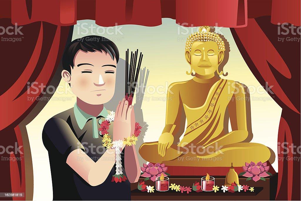 Buddhist man royalty-free stock vector art